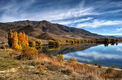 The Banks of Lake Benmore (Kevin_Jeffries) Tags: nature lake newzealand benmore water autumn flickr flickrsbest flickrtoday interesting idyllic shore mountain hill tree clear blue reflection scenic southisland bestofflickrsbest