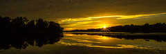 Sunburst (Kevin Povenz) Tags: 2016 june kevinpovenz westmichigan michigan jenison ottawa ottawacounty thebendarea sunset evening sun sunburst lake pond dusk yellow canon7dmarkii panoramic pano reflection