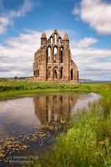 Whitby Abbey Reflections (Steve-P2010) Tags: reflection abbey architecture clouds reflections pond ruins yorkshire masonry ruin landmark whitby daytime whitbyabbey