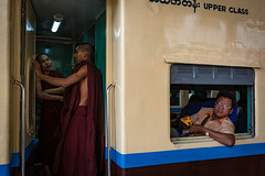 Myanmar // Mandalay - Upper Class (Christian Clowes) Tags: life street new family blue red summer portrait orange green yellow train temple photography nikon asia country sigma monk trainstation mm mandalay upperclass myanmarburma mandalayregion