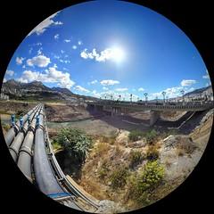 Pipe Come Bridge Go (Yassine Abbadi) Tags: road sky cloud sun mountain grass car river fisheye morocco maroc marruecos rif tetuan tetouan martil mhanesh