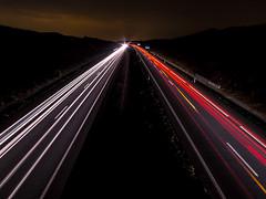 Night Motorway (Juaberna) Tags: night long exposure motorway olympus autopista nocturna f28 larga exposicin 14mm samyang epl6