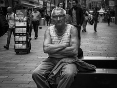 Determination (Leanne Boulton) Tags: life street old city uk light shadow portrait people urban blackandwhite bw white man black detail male texture monochrome face muscles look canon 50mm mono scotland living blackwhite eyecontact sitting natural emotion humanity outdoor expression glasgow candid character culture streetphotography scene human elderly shade portraiture 7d aged posture feeling gesture society scar depth tone facial storytelling candidportrait candidstreetphotography candideyecontact