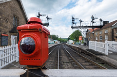 Red Light (davep90) Tags: light red lamp station bulb train track fuji traffic diesel yorkshire rail railway stop fujifilm moors signal 1024 grosmont davep90