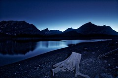 Blue Hour Kananaskis (John Andersen (JPAndersen images)) Tags: blue sky panorama lake mountains night clouds reflections stars kananaskis colours alberta stump elbowfalls elbowriver upperlake