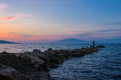 Sunset in Zakynthos (krugli) Tags: travel sunset sea summer seascape nature water landscape island greek coast rocks outdoor stones horizon scenic rocky greece figure coastline lonely zante seaview zakynthos ionian d600