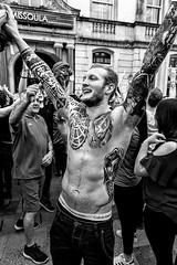 Tattooed Supporter (SlickSnap Steve) Tags: urban blackandwhite bw monochrome tattoo wales football nikon candid steve cardiff tattoos celebration supporter d750 stolen beckett 2016 lunaphoto urbanarte