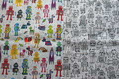 robots in space and robot pattern (Cecca W) Tags: patterns spoonflower basiccottonultra swatch cotton fabric pattern design patterndesign surfacedesign illustration robots