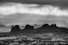 Monoliths at Sunrise (Laura Zirino) Tags: light blackandwhite southwest monochrome landscape landscapes utah ut