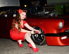 Holly_4332 (Fast an' Bulbous) Tags: hot sexy girl woman chick babe high heels long hair stilettos stockings red dress shoes car vehicle automobile golden hour dusk flash nikon d7100 gimp ford thunderbird 55 promodified drag strip race track model people outdoor pose longhair