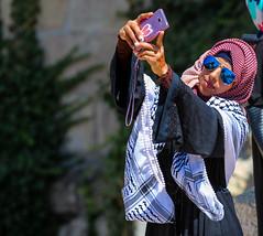 Eid Mubarak  Because we all worship the same Lord (ybiberman) Tags: portrait people woman sunglasses israel jerusalem smartphone ramadan muslimquarter oldcity selfie alquds kafiya fridayprayer