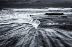 Underflow (Crouchy69) Tags: ocean sea sky white seascape motion black beach water clouds sunrise landscape flow dawn mono coast rocks sydney australia turimetta