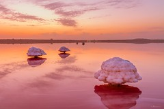 Sunrise over Lake Masazir (Ramin Hsnlizad) Tags: landscape sunrise morning lake red water salt pink azerbaijan mushroom early baku salty masazir