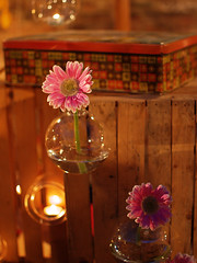 DSC_0406 (Camilla BB) Tags: flowers home reflections warm pretty rustic atmosphere gerbera romantic candlelight decor candlelit glassware shabby