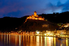 ([ raymond ]) Tags: blue sky reflection castle water architecture night clouds river germany landscape alsace schloss cochem elsass saar moselle img7004
