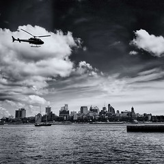 """""""Breuckelen"""" (BhushaNYC) Tags: nyc newyorkcity travel urban usa ny newyork art water skyline architecture brooklyn clouds river pier fly manhattan flight parks brooklynheights helicopter promenade eastriver sail blacknwhite bnw iphone kingscounty iphone4 iphoneography"""