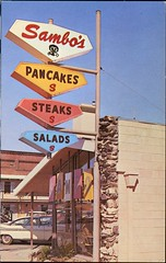 """Sambo's Restaurant """"A Sign of Plexiglas is a Sign of Distinction"""" (SwellMap) Tags: road signs monument public sign vintage advertising design 60s highway gate arch fifties message postcard suburbia entrance style kitsch retro billboard route nostalgia chrome freeway gateway billboards americana 50s lettering welcome roadside populuxe sixties babyboomer consumer coldwar midcentury spaceage atomicage archwaypc"""