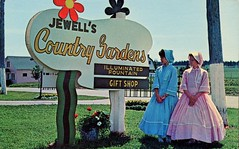 Jewell's Country Gardens, Illuminated Fountain & Gift Shop, York PEI (SwellMap) Tags: road signs monument public sign vintage advertising design 60s highway gate arch fifties message postcard suburbia entrance style kitsch retro billboard route nostalgia chrome freeway gateway billboards americana 50s lettering welcome roadside populuxe sixties babyboomer consumer coldwar midcentury spaceage atomicage archwaypc