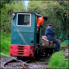 """Oi, get off and walk!"" (Ken Came) Tags: pictures museum railway mining sit preserved somewhere purbeck workman 113 2013"