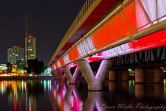 Metro Light Rail Bridge, Tempe AZ (Arizphotodude) Tags: longexposure bridge blue light arizona lake night landscape photography lights nikon dusk rail nikkor tempe ariz tempetownlake 2013 d7k d7000 nikond7000