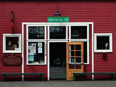 face forward (dotintime) Tags: door red window face bench flat engine front storefront forward straightforward meganlane dotintime