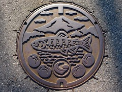 Gero city Gifu pref, manhole cover 2  (MRSY) Tags: mountain fish fruits japan geotagged gero  manhole   gifu       geo:lat=3580575175585557 geo:lon=13724469646811485