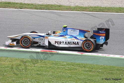 Rio Haryanto in GP2 Free Practice at the 2013 Spanish Grand Prix