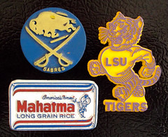 3 Vintage Magnets LSU Mahatma 1970's Buffalo Sabres (gregg_koenig) Tags: old kitchen vintage football buffalo rubber magnets lsu 70s 1970s mahatma sabres