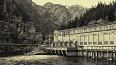 Gorge Powerhouse (allanga_69) Tags: blackandwhite monochrome landscape historic cascades washingtonstate powerhouse hydroelectric cascademountains northcascadesnationalpark skagitriver newhalem digitalblackandwhite seattlecitylight gorgepowerhouse nikond600 hydrolectricity