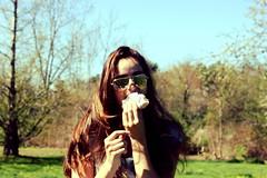 Sweet Spring (Elyse Carmosino) Tags: flowers blue school trees friends summer sky food usa blur green nature girl field grass sunglasses fashion boston clouds america garden hair season outside kid spring blurry funny pretty waves sweet massachusetts branches seasonal newengland sunny powder sugar teen donut trendy pastry teenager