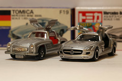 TOMICA F19, Mercedes, 300SL  / TOMICA 91, Mercedes SLS (Daryl Chapman's - Automotive Photography) Tags: china car canon germany toy toys hongkong model 100mm vietnam collection german collections 5d f28 sar tomy tomica mkiii westgerman