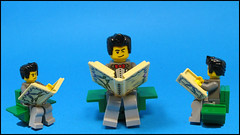 Everyone sitting comfy cosy... (Karf Oohlu) Tags: book chair sitting lego minifig necronomicon moc