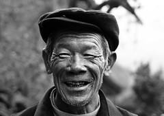 Man in Dazhai 1 (Ben Varley) Tags: china old portrait blackandwhite bw man happy chinese clarity oldman cheerful potrait longsheng dazhai cheerfull