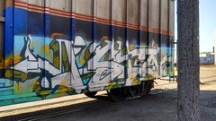 ISTO (MINNESOTA MUNSTER) Tags: minnesota train bench graffiti graff mn freight isto mankato flickrandroidapp:filter=none