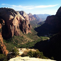 view from the top of Angels Landing (kara brugman) Tags: park square utah horizon canyon hike landing national angels squareformat zion inkwell cairn iphone iphoneography instagramapp uploaded:by=instagram foursquare:venue=4e7fd00961af256e9e777cbe