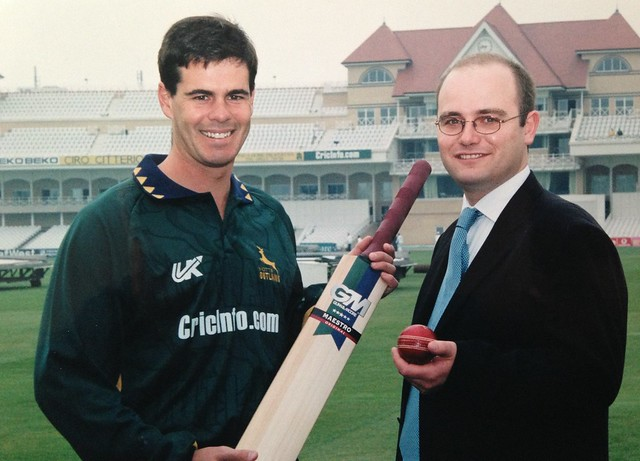 Andrew Hall with Jason Gallian at the launch of Cricinfos sponsorship of Nottinghamshire Outlaws - 2000