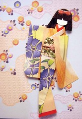 ATC1190 - Scattered clouds and flowers (tengds) Tags: flowers blue atc clouds purple salmon geisha kimono obi origamipaper papercraft japanesepaper ningyo handmadecard chiyogami hairbow japanesepaperdoll japanesedesignprint origamidoll nailartsticker tengds