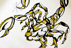 feel the sting (devanchisholm) Tags: school white black yellow wall painting sting scorpion scorpions whit clc