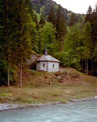 Chapel (needler_) Tags: trees france color building green film grass vertical river french landscape religious cheval fuji religion chapel des negative 4x5 f2 notre dame largeformat hunt fer 135mm sinar sixt hautesavoie c41 prealps rhnealpes giffre grces pro160ns colorperfect sougey sinaronse