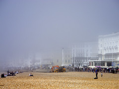 St. Leonards viewed from Hastings through the sea mist (the.misspiggy) Tags: sea england mist weather hastings stleonards