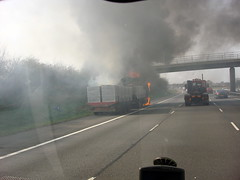Lorry Fire (Paul - Bevan) Tags: tractor truck fire motorway accident transport lorry erf warwickshire unit m40 haulage gaydon