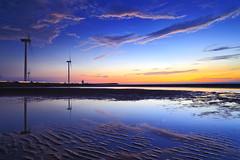 dusk (Thunderbolt_TW) Tags: sunset sea sky sun reflection water windmill canon landscape dusk taiwan  getty    windturbine gettyimages  changhua       hsienhsi  5d2 changpingindustryarea hybai