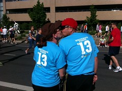 Kissing for good luck before starting the race