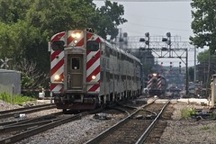 Crossing over at Fairview (PrairieRailfan) Tags: commuter metra meet bnsf crossingover chicagosub signalbridge cabcar downersgroveilfairviewave commuterextra