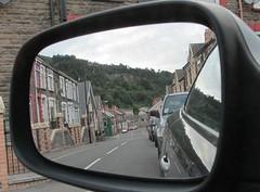 Objects In The Rear View Mirror (Watt_Dabney) Tags: reflection car wales mirror view rear august renault backwards welsh sat llanbradach 2013