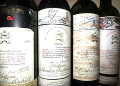 A flight of Mouton Rothschild 1961, 1955, 1966 1982