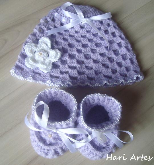 Conjunto Bebê Lilás (Hari Artes) Tags  touca sapatinho crochê roupadebebê  conjuntobebê enxovaldebebê c6805610e22