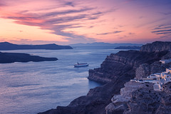 Dreaming of Santorini (Allard Schager) Tags: sunset seascape landscape islands twilight zonsondergang nikon rocks ship dusk cruising peaceful calm cliffs illuminated dreaming swimmingpool santorini greece caldera cruiseship iconic cyclades mediterraneansea thira tranquilscene griekenland aegeansea cycladen 2013 middellandsezee touristdestination pictoresque d700 nikond700 nikkor2470mmf28 allardschagercom aegeschezee