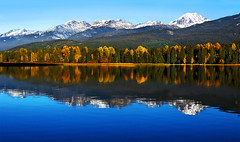 Alpine Autumn I (david schweitzer) Tags: landscape dreamscape autumn outdoors altalake armchairglacier mountweartwedge mountain whistler mountains snow glacier bc ski trees hiking water skiing cold lake ice worldcup bestcapturesaoi slicesoftime day blinkagain clear lpcolour blackcomb colours gettyimages lpday lpday2 canada davidschweitzer documentaryphotography streetphotography green tree white outside nature blue sky red