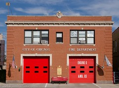 Chicago Fire Department - Engine 8 / Ambulance 85 / Truck 4 / Ballalion 2 (Jim Frazier) Tags: city red urban house chicago streets art station architecture buildings fire illinois october chinatown doors garage cook structures streetscene architectural il department quarters cookcounty q4 2013 ldoctober jimfraziercom wmembed ld2013 20131026chinatown